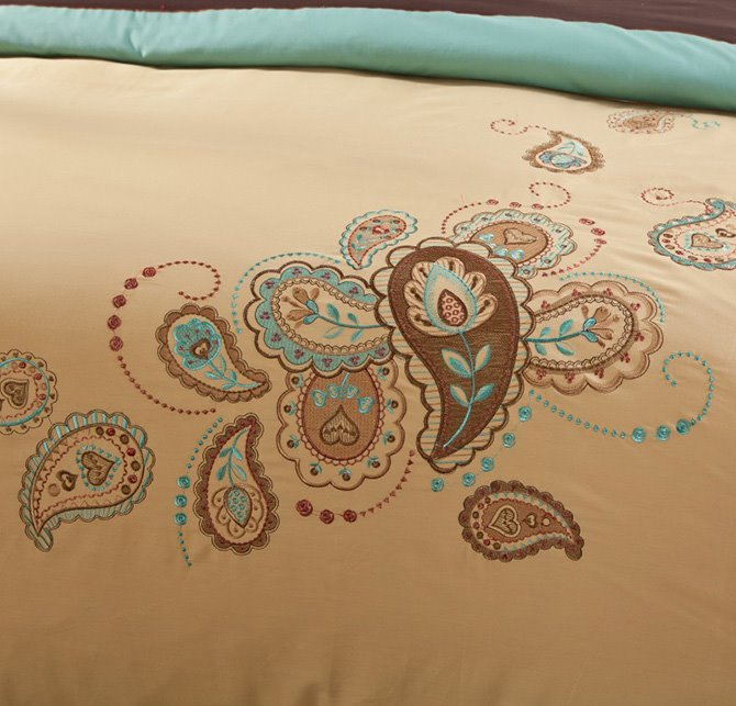 Popular Paisley Pattern Embroidery 4-Piece Cotton Duvet Cover Sets