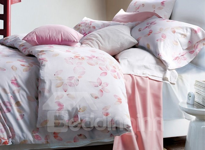 Romantic Pink Petal Design 4-Piece Cotton Duvet Cover Sets