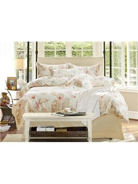 Beautiful Marine Life Print 4-Piece Cotton Duvet Cover Sets