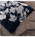 Glamorous White Flower Design Dark Blue 4-Piece Cotton Duvet Cover Sets