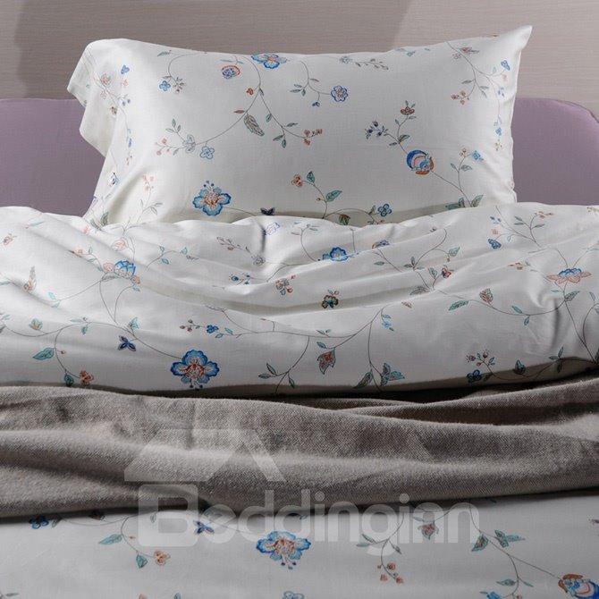 Stylish Flower Pattern 4-Piece Cotton Duvet Cover Bedding Sets