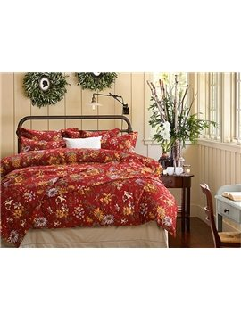 Super Soft Luxury Daisy Pattern Pure Cotton 4-Piece Duvet Cover Sets