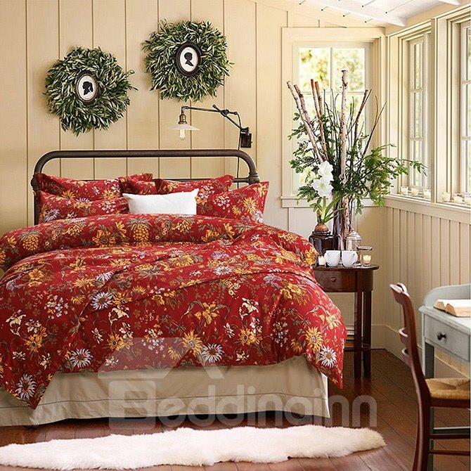 Super Soft Luxury Daisy Pattern Pure Cotton 4-Piece Duvet Cover Sets