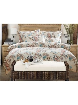 Beautiful Peacock and Flower Reactive Printing 4-Piece Cotton Duvet Cover Sets