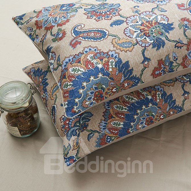 Exotic Mysterious Flowers Print 4-Piece Cotton Bedding Sets