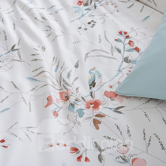 Beautiful Flowers Print White Background 4-Piece Cotton Bedding Sets