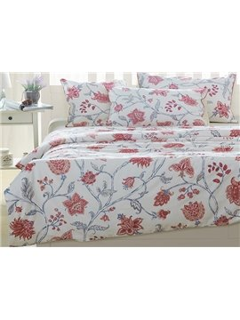 Stylish Red Flowers Print White Background 4-Piece Cotton Bedding Sets