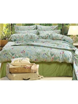 Gorgeous Pastoral Style Green 4-Piece Cotton Bedding Sets