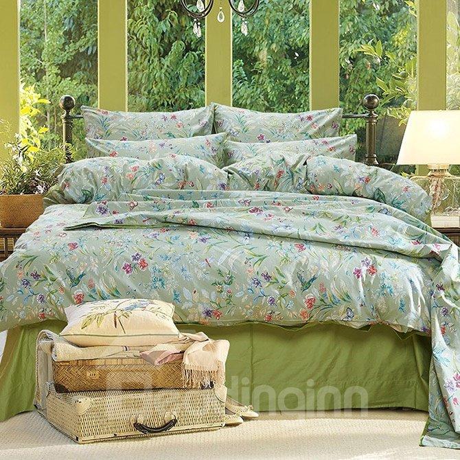 Gorgeous Pastoral Style Green 4-Piece Cotton Bedding Sets