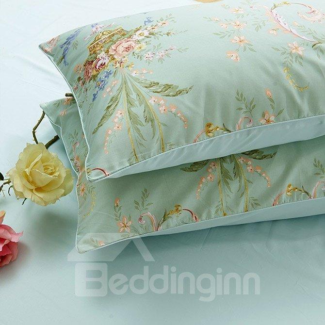 Fresh Retro Flowers Print Green 4-Piece Cotton Duvet Cover Sets