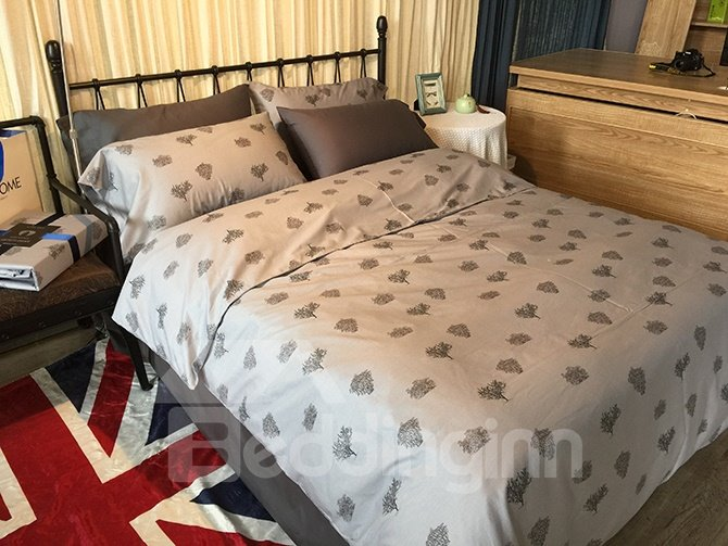 Concise Tree Print Grey 4-Piece Cotton Bedding Sets