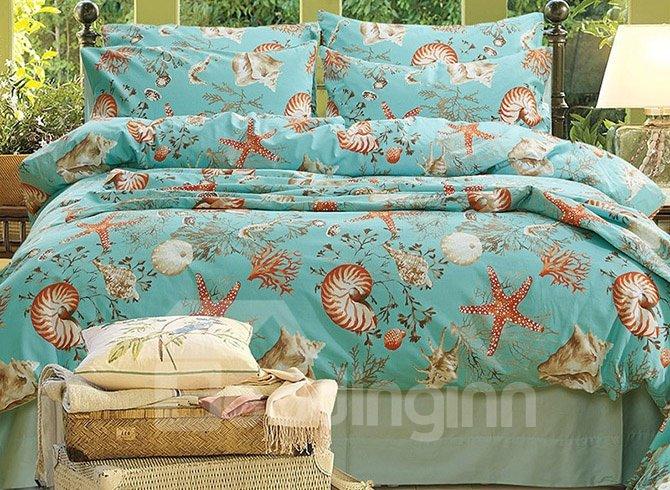 Charming Sea World Print Blue 4-Piece Cotton Bedding Sets