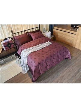 Simple Leaves Design Vermilion 4-Piece Cotton Duvet Cover Sets