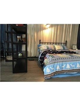 Western Style Elk and Castle Print 4-Piece Cotton Bedding Sets