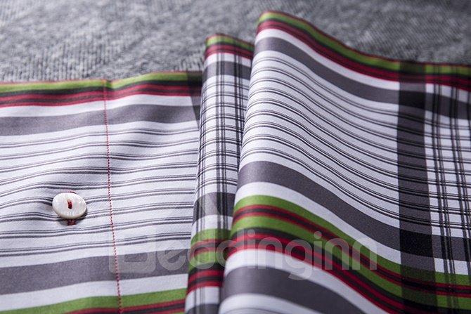 Classical Neutral Plaid 4-Piece Cotton Bedding Sets