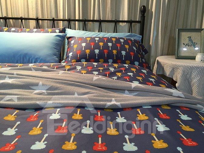 Fancy Cartoon Guitar Print 4-Piece Cotton Bedding Sets