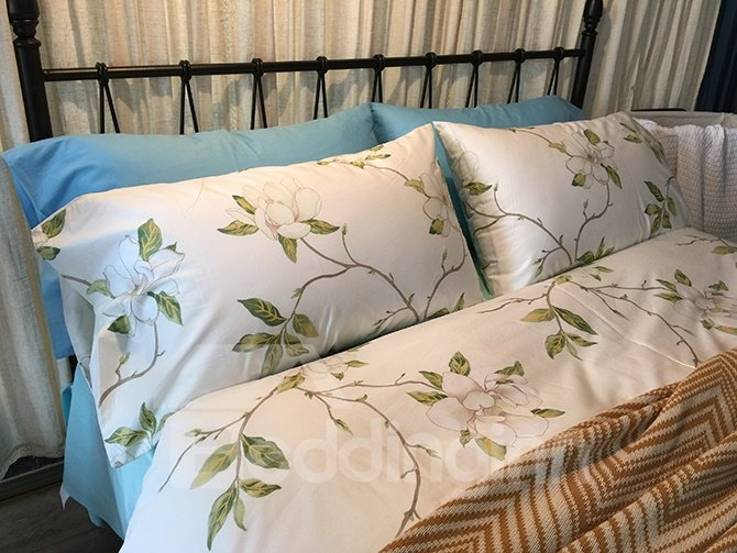 Elegant Flowers and Green Leaves White 4-Piece Cotton Bedding Sets