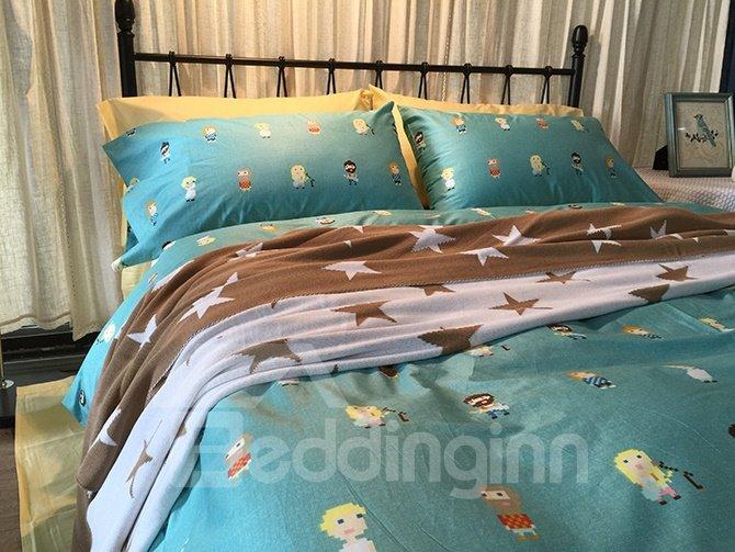 Lovely Cartoon Design Luck Star Print Blue 4-Piece Bedding Sets
