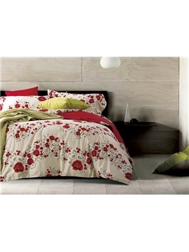 100% Cotton Amazing Red Flowers Print Ripple Design 4-Piece Bedding Sets