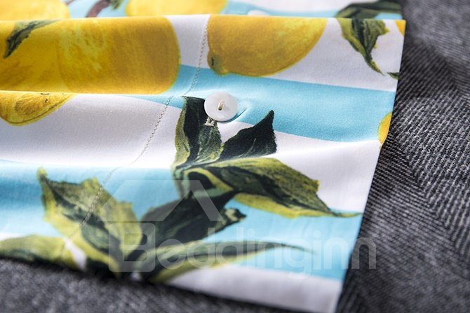 Charming Yellow Fruit Print Blue and White Stripe 4-Piece Bedding Sets
