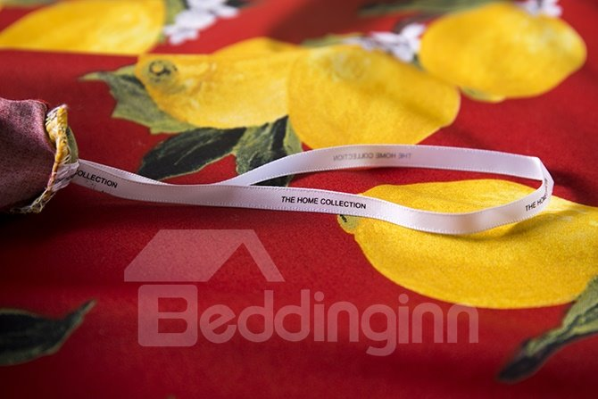Creative Yellow Fruit Print Red Background 4-Piece Bedding Sets