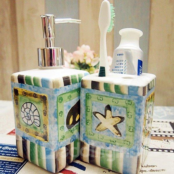 Mediterranean Style Ceramic Five Pieces Bathroom Accessories