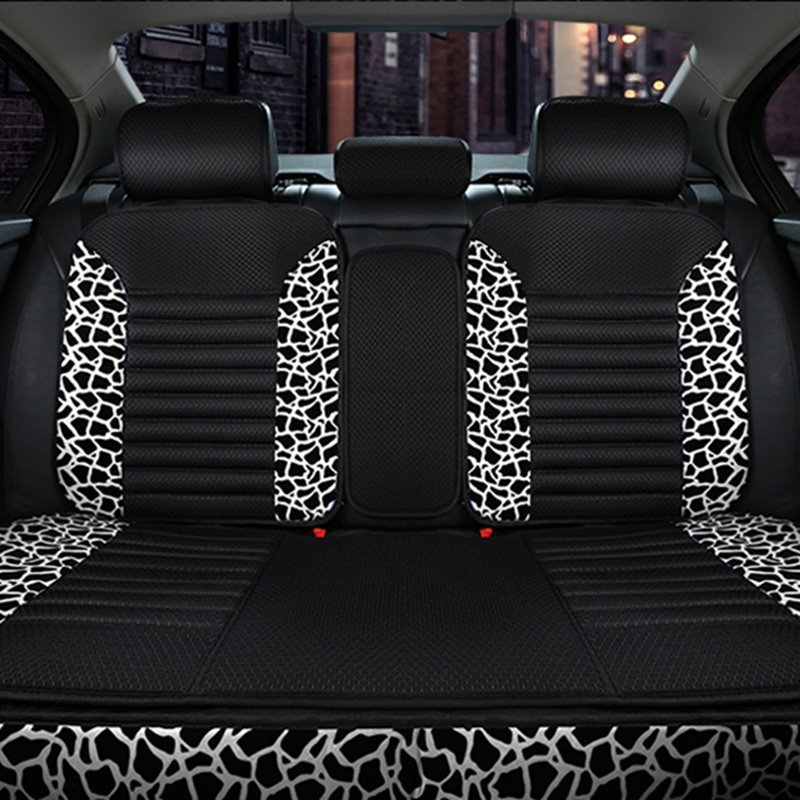 Modernistic Style With Classic Leopard Skin Patterns Universal Five Car Seat Covers