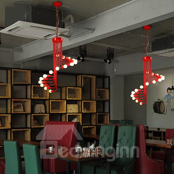 Creative Black and Red Spiral Ceiling Light