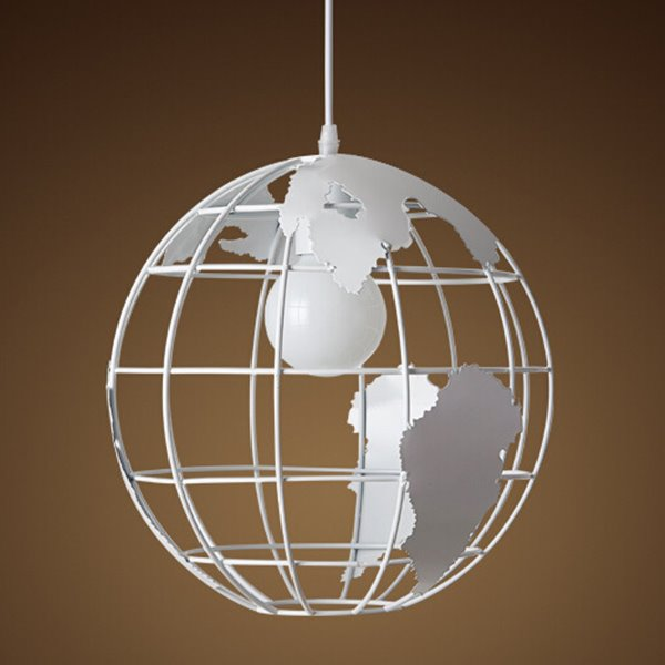 Black and White Reticular World Map Pattern Ceiling Light