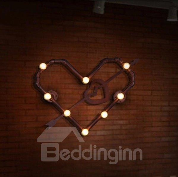 Classic Iron Heart Shape Water Pipe Wall Light