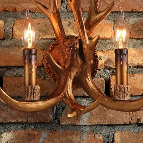 Brown Resin Two Antlers Shape Countryside Style Wall Light