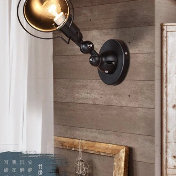 Black Iron Light Cover and 1 Bulb Wall Light