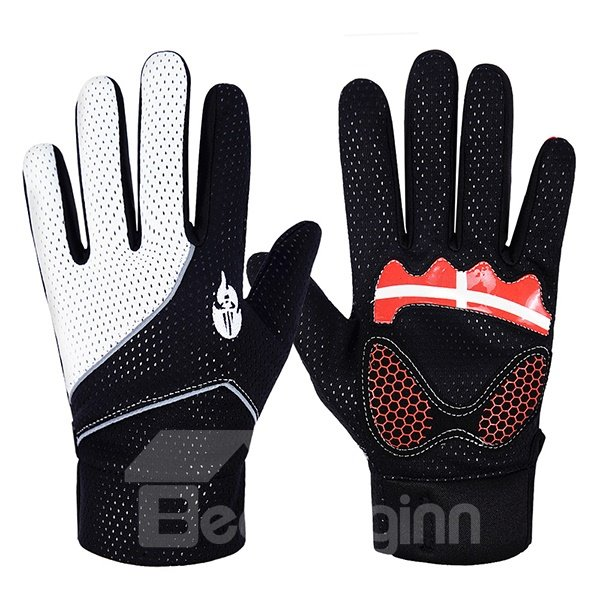 Unisex Breathable Gel Pad Anti-slip Durable Road Racing Cycling Full Ginger Gloves