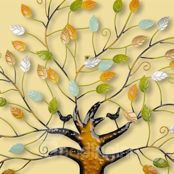 Creative Countryside Style Iron Colorful Tree Decorative Wall Sticker