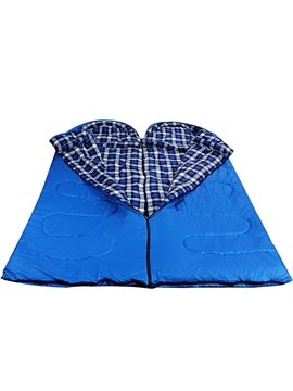 Outdoor Lightweight Grid Blue Camping Hiking Traveling Warm Envelope Sleeping Bag