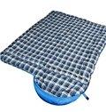 Outdoor Lightweight Grid Blue Camping Hiking Traveling Warm Envelope Sleeping Bag