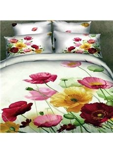 Dignified Colorful Flower Reactive Printing Cotton Flat Sheet