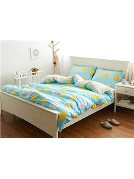 Reversible Cartoon Mango Print Sky Blue 4-Piece Cotton Bedding Sets