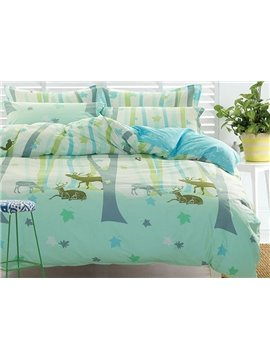 Fresh Style Cartoon Reindeer Print Green 4-Piece Cotton Bedding Sets