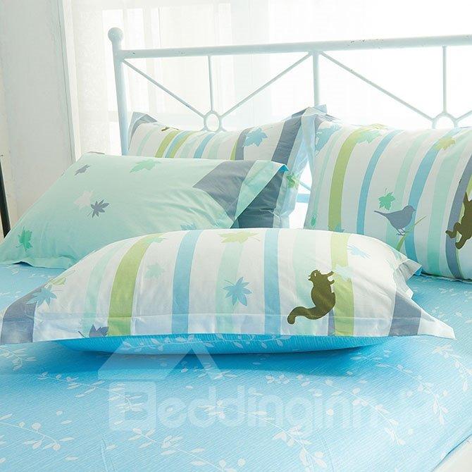 Fresh Style Cartoon Reindeer Print Green 4-Piece Cotton Bedding Sets