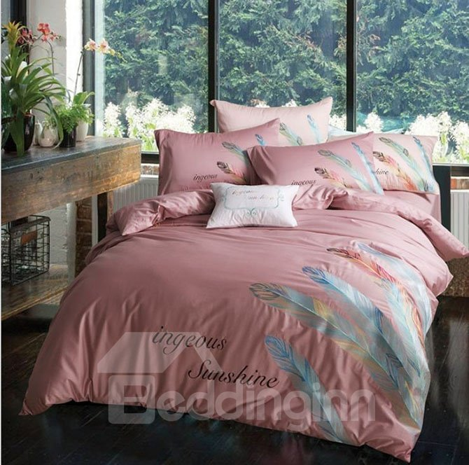 Burgundy Feather Print Pure Cotton 4-Piece Bedding Sets