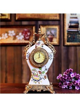 Modern Design Flower White Ceramic Clock Desktop Decoration