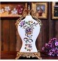 Modern Design Flower White Ceramic Clock Desktop Decoration