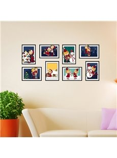 Cute Cartoon Snowmen and Children Photo Frame Wall Sticker