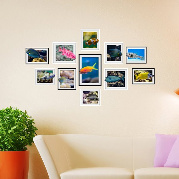 Free Colorful Fishes Photo Frame Wall Sticker