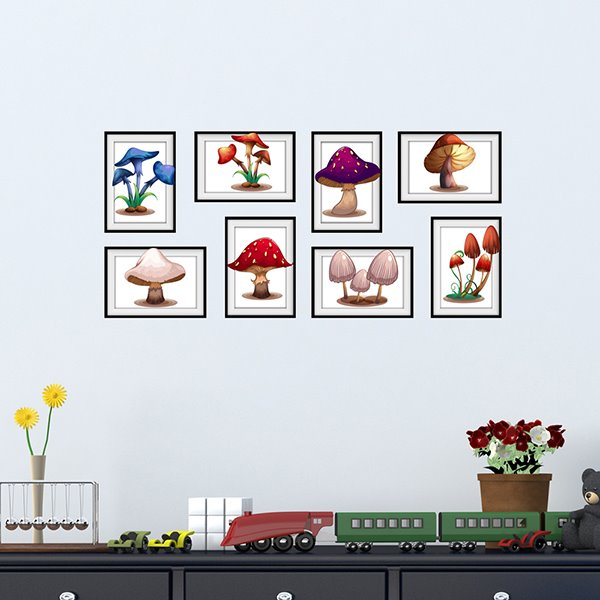 Simple Attractive 7 Types of Mushroom Photo Frame Wall Stickers