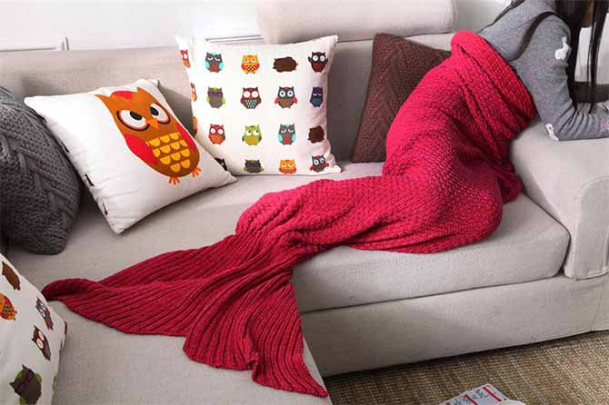 Pure Cotton Knitted Mermaid Tail Sofa Blanket