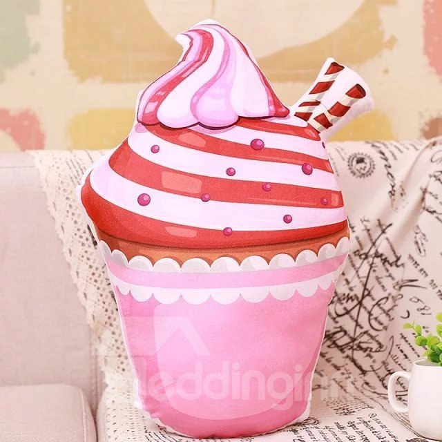 Amazing Totally Pink Ice Cream Design PP Cotton Throw Pillow