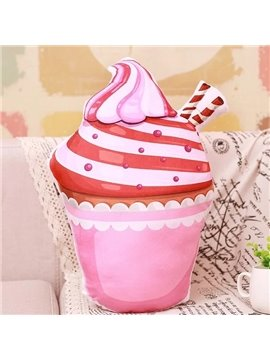 Amazing Totally Pink Ice Cream Design PP Cotton Throw Pillow