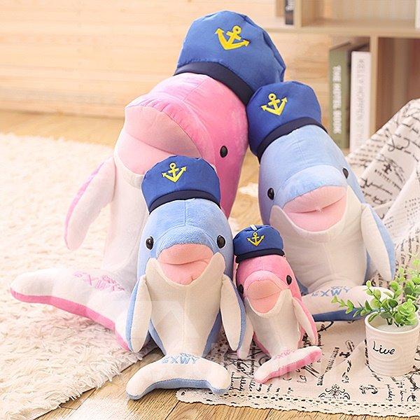 Super Cute Navy Dolphin PP Cotton Throw Pillow